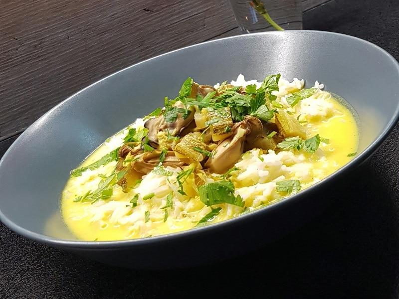 huîtres chaudes au lait de coco
